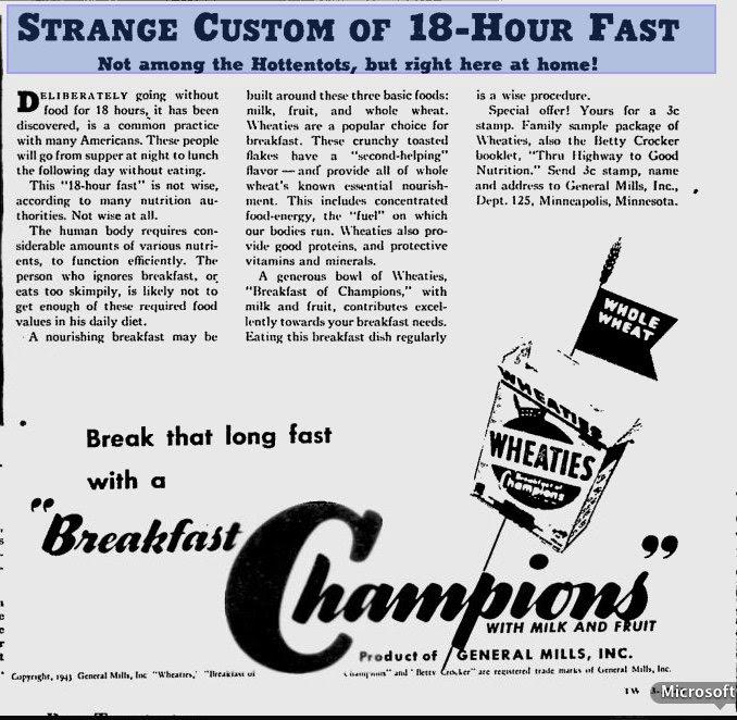 Strange Custom of 18 hour fast